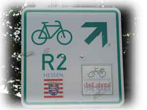Typical bicycle path sign