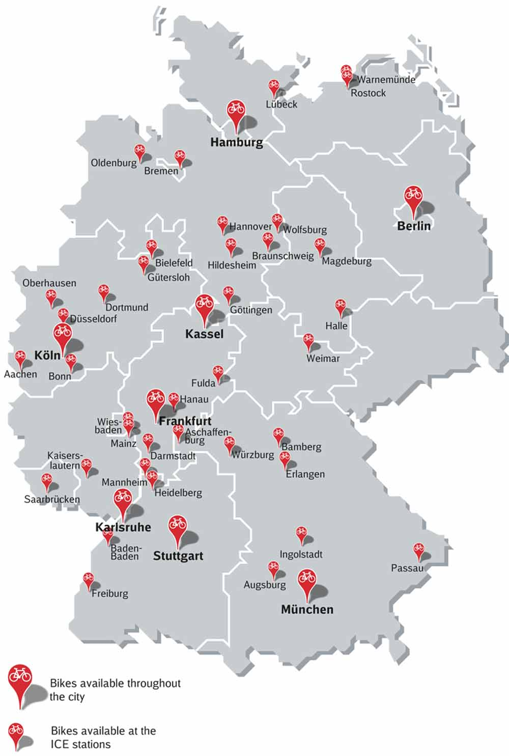 Rent Bicycles By The Day - Germany map with cities