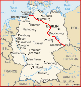 Map Of Germany Showing Dresden.Elbe River Cycle Path