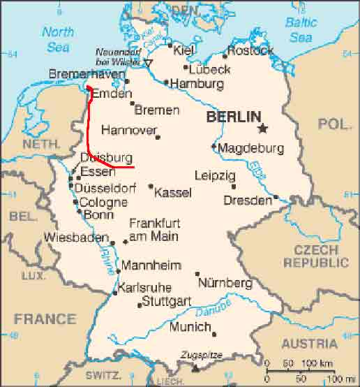 Map Of North West Germany.Ems River Tour