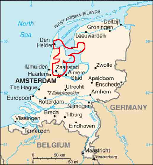 Map Of Germany And Holland.Bike And Ship North Of Amsterdam