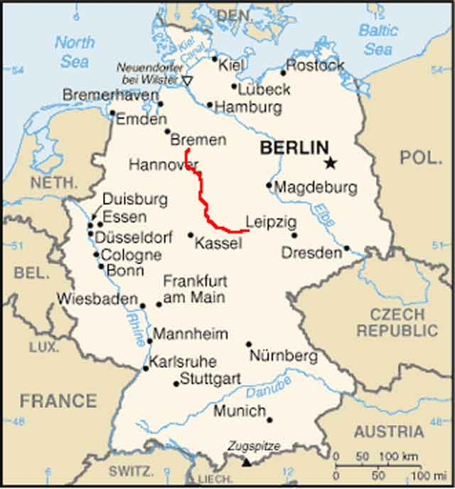 Leine River Bicycle Tour - Germany map gottingen