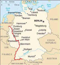 this is an 18 day 592 mile 953 kilometer in germany but adding the portion in holland it becomes an 21 day 693 mile 1116 kilometer bicycle tour along