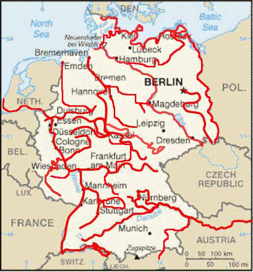 Summary Of All Tours - Germany map of rivers