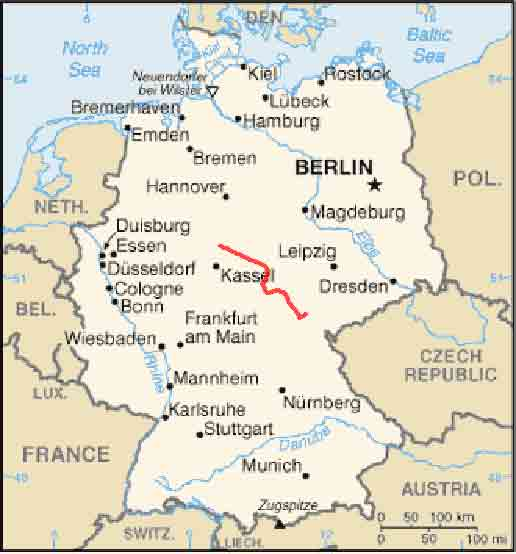 Map Of Germany With Rivers.Werra River Bicycle Tour